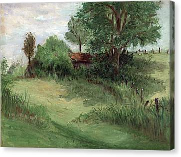 Tractor Shed Canvas Print by Ethel Vrana