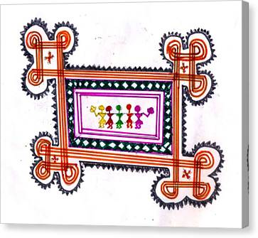 Tradition Art-aunties In Rangoli Canvas Print by Poornima M