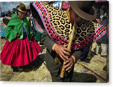Traditional Dance Of The Bolivian Highlands. Canvas Print by Eric Bauer