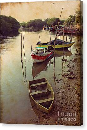 Traditional Fisherman Boats In Phuket Thailand Canvas Print