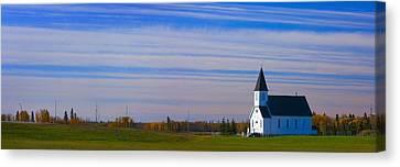 Traditional Prairie Steeple Church In Canvas Print by Corey Hochachka