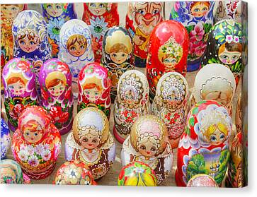 Traditional Russian Nested Dolls For Sale Canvas Print by Travelif