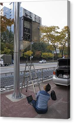 Traffic Control System, Daejeon Canvas Print by Mark Williamson
