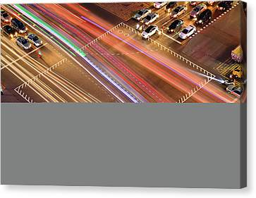 Traffic Trails Of Intersection Canvas Print