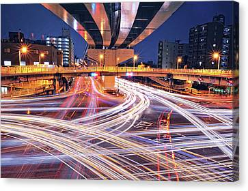 Traffic Trails Canvas Print by Y2-hiro