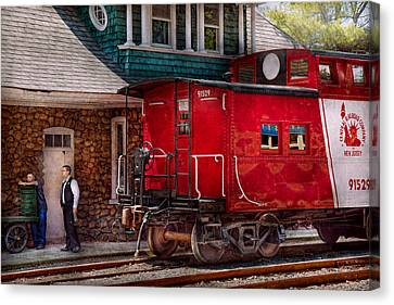 Train - Caboose - End Of The Line Canvas Print by Mike Savad