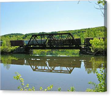 Canvas Print featuring the photograph Train And Trestle by Sherman Perry