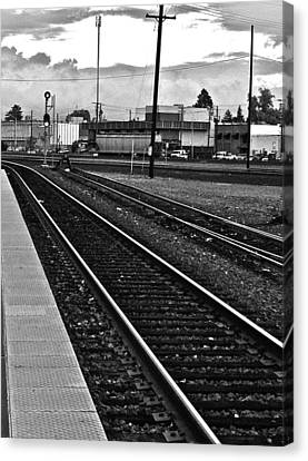 train tracks - Black and White Canvas Print by Bill Owen