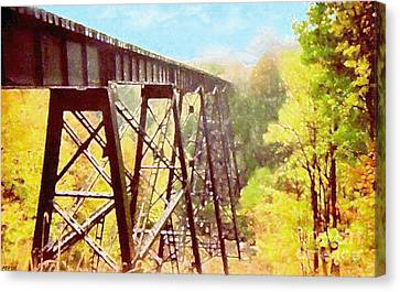 Canvas Print featuring the digital art Train Trestle by Phil Perkins