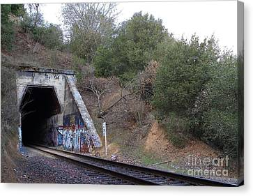 Train Tunnel At The Muir Trestle In Martinez California . 7d10229 Canvas Print by Wingsdomain Art and Photography