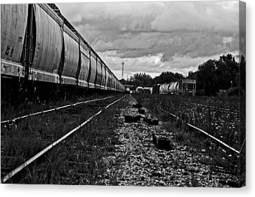 Canvas Print featuring the photograph Train Yard by Randall  Cogle