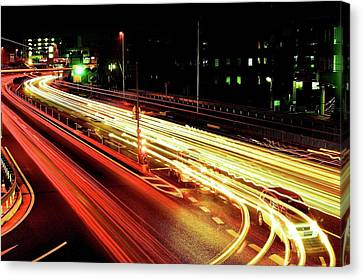 Trajectory Of Light(national Route No.24) Canvas Print by Photo by ball1515