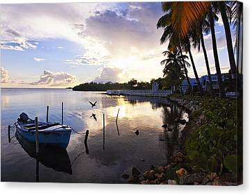 Tranquil Sunset In A Fishing Village Canvas Print by George Oze