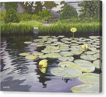 Canvas Print featuring the painting Tranquility Furman Botanical Garden by Robert Decker