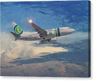 Canvas Print featuring the painting Transavia Boeing 737 No2 by Nop Briex