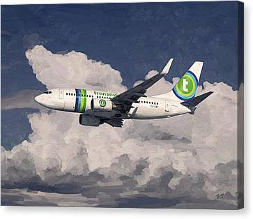 Canvas Print featuring the painting Transavia Boeing 737 by Nop Briex