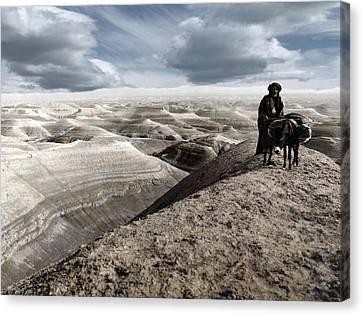 Traveling Through The Desert Canvas Print by Munir Alawi