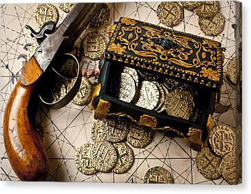 Treasure Box With Old Pistol Canvas Print by Garry Gay