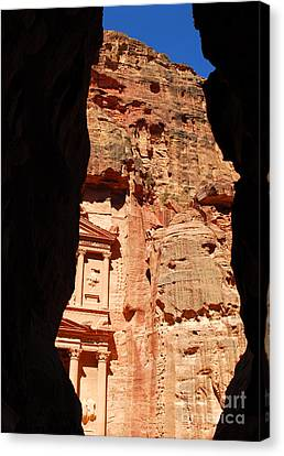 Canvas Print featuring the photograph Treasury At Petra In Jordan by Eva Kaufman