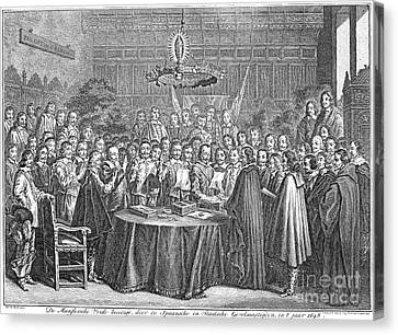 Treaty Of Munster, 1648 Canvas Print by Granger