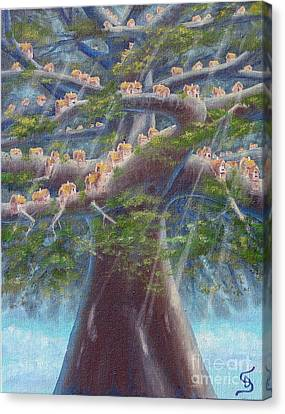 Canvas Print featuring the painting Tree Houses From Arboregal by Dumitru Sandru