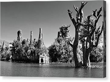 Tree In Lake Canvas Print by Glenn Sundeen - TigerPal