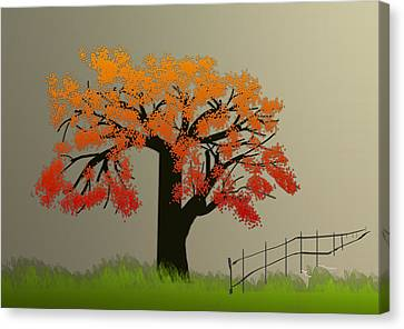 Tree In Seasons - 4 Canvas Print by Asok Mukhopadhyay