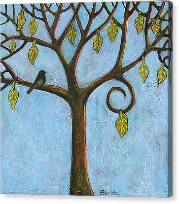 Tree Of Life Blue Sky Canvas Print by Blenda Studio