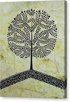 Tree Of Life-warli Contemporary Painting Canvas Print