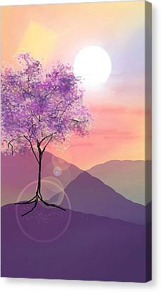 Tree On A Hill Canvas Print by Ginny Schmidt