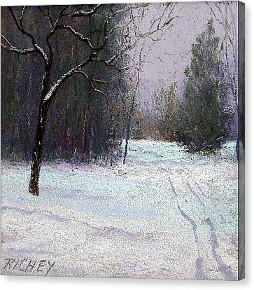Trees In A Winter Fog Canvas Print by Bob Richey
