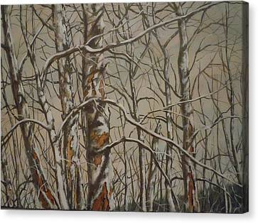 Canvas Print featuring the painting Trees In The Mountains by James Guentner