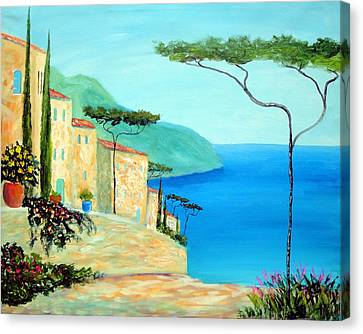 Canvas Print featuring the painting Trees Of The Mediterranean by Larry Cirigliano