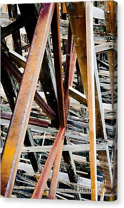 Trestle Legs Kinsol Trestle Beams Abstract Looking Down At River Canvas Print