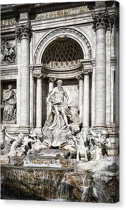 Trevi Fountain Detail Canvas Print by Joan Carroll