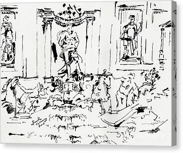Trevi Fountain Rome Italy Ink Drawing By Ginette Canvas Print by Ginette Callaway