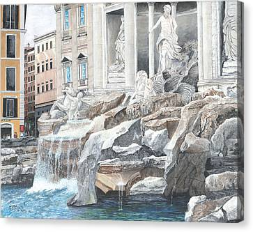 Canvas Print featuring the painting Trevi Fountain Rome by Stuart B Yaeger