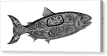 Tribal Salmon Canvas Print by Carol Lynne