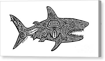 Tribal Shark Canvas Print by Carol Lynne