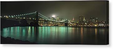 Tribute In Light, Lower Manhattan On Canvas Print by Axiom Photographic