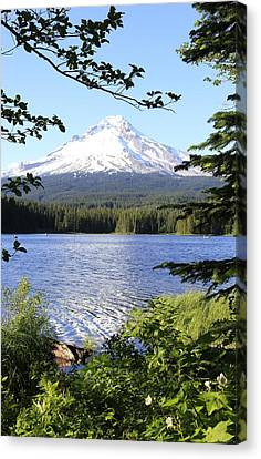 Canvas Print featuring the photograph Trillium Lake At Mt. Hood by Athena Mckinzie