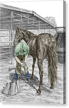 Trim And Fit - Farrier And Horse Print Color Tinted Canvas Print