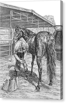 Trim And Fit - Farrier With Horse Art Print Canvas Print by Kelli Swan