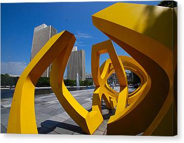 Canvas Print featuring the photograph Trio On The Plaza by John Schneider