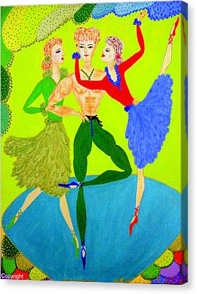 Trio Water-dancers  Canvas Print by Marie Schwarzer