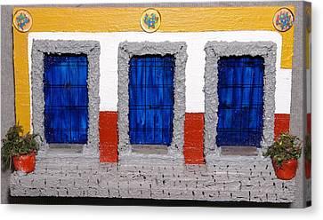 Triple Mexican Blue Doors Canvas Print by Robert Handler