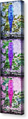 Triptych Cobalt Blue Purple And Magenta Bottles Triptych Vertical Canvas Print by Andee Design