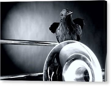 Trombone And Crow Bird Canvas Print by M K  Miller