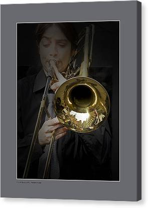 Canvas Print featuring the photograph Trombone by Pedro L Gili