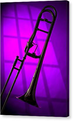 Trombone Silhouette On Purple Canvas Print by M K  Miller